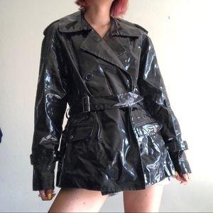 Anne Klein Black Latex Trench Coat/Rain Coat, 1X